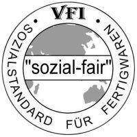 """""""sozial-fair"""" VFI Sozialstandard für Fertigwaren logo"""